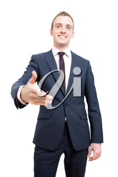 Royalty Free Photo of a Businessman Reaching for a Handshake
