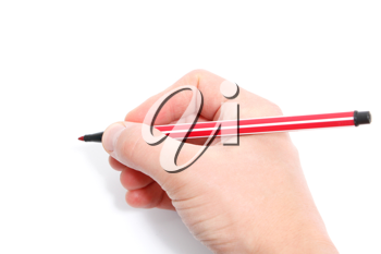 Royalty Free Photo of a Person Holding a Pen