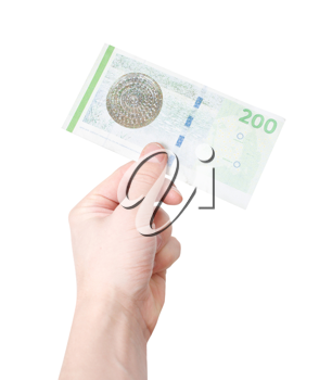 Royalty Free Photo of a Person Holding a Danish Kroner