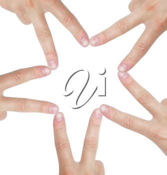 Royalty Free Photo of Hands Creating a Star