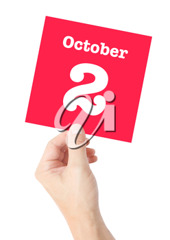 October 2 written on a card held by a hand