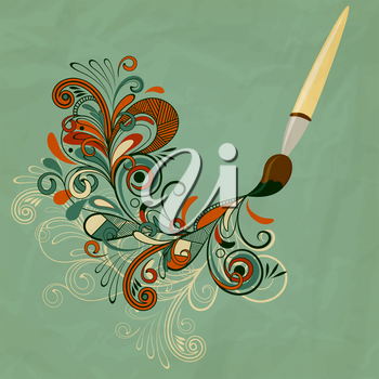 Royalty Free Clipart Image of a Paint Brush with Flowers