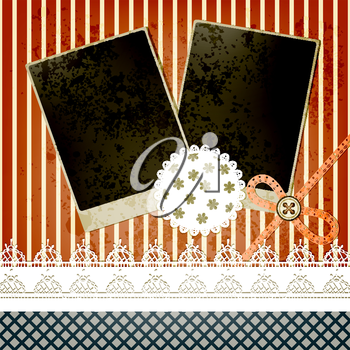 Royalty Free Clipart Image of a Scrapbooking Page with Frames, Buttons and Lace