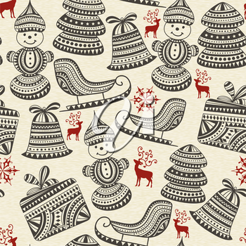 vector holiday  winter pattern with sledge, snowman, boxes, snowflakes, deers, and fir trees, seamless pattern in swatch menu