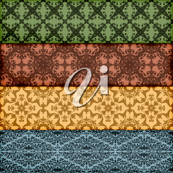 Vector seamless floral borders, transparency effects and gradient mesh applied