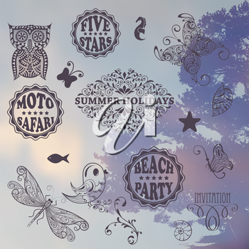 Vector Summer Design Elements on Background with tree and sky, place for your text, eps 10 transparency effects, Cooper Black Std and Eccentric Std  fonts used in example