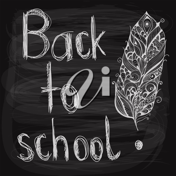 back to school chalk drawn  background with feather on blackboard, fully editable eps 10 file with transparency effects, hand written text