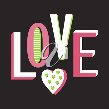 Vector Love Composition with bright letters and hearts