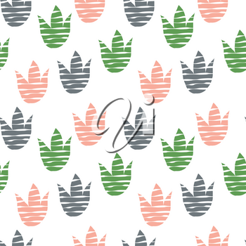 Vector Seamless Abstract Floral Pattern with Tulips. Scandinavian Style. Bright Summer Design