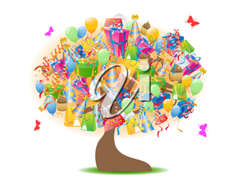 Royalty Free Clipart Image of Birthday Gifts in a Tree