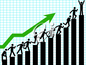 Royalty Free Clipart Image of Businessmen on a Chart