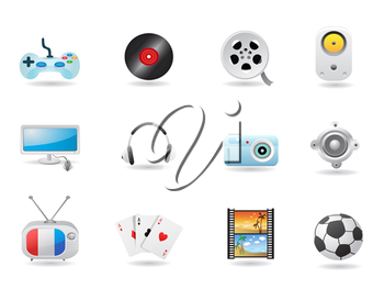 Royalty Free Clipart Image of Entertainment Icons