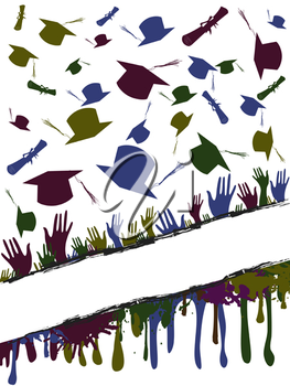 Royalty Free Clipart Image of Graduates Crossing Caps