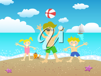 Royalty Free Clipart Image of a Family on the Beach