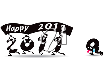 Royalty Free Clipart Image of a New Year Banner