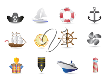 Royalty Free Clipart Image of Sailing Icons
