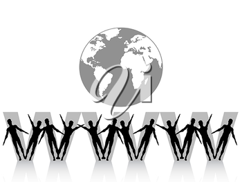 Royalty Free Clipart Image of People By the World