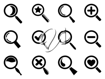 isolated black magnifying glass icons set from white background