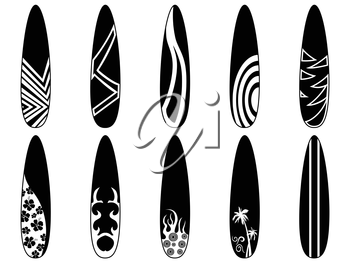 isolated black surfboard icons from white background