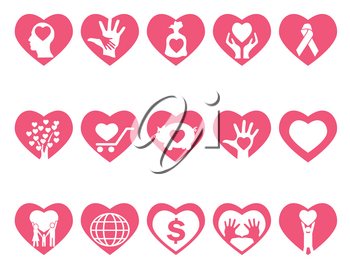 isolated charity icons set in red heart from white background