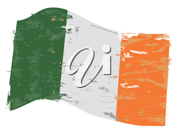 isolated ireland flag with grunge texture from white background