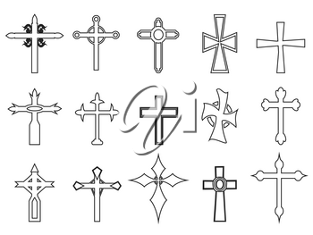 isolated religious cross outline icons on white background