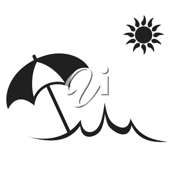 isolated simple Sun Summer Umbrella Beach icon from white background
