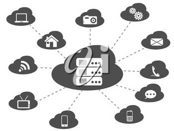 isolated black cloud networking from white background