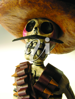 Royalty Free Photo of a Skeleton in a Sombrero