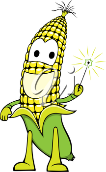 Royalty Free Clipart Image of a Happy Corn on the Cob