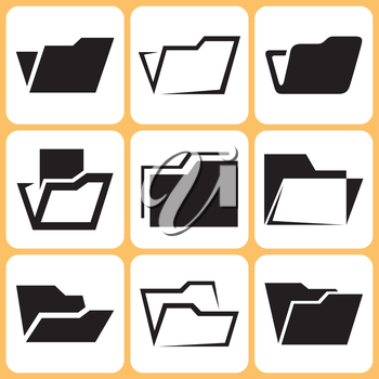Royalty Free Clipart Image of File Folder Icons