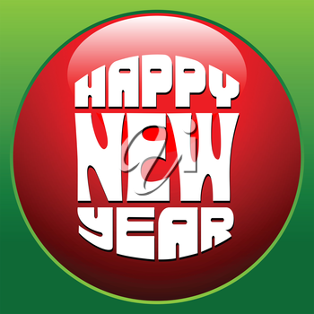 Royalty Free Clipart Image of a Happy New Year Button