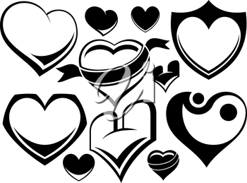 Royalty Free Clipart Image of a Set of Hearts