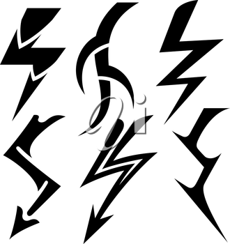 Royalty Free Clipart Image of Lightning Bolts