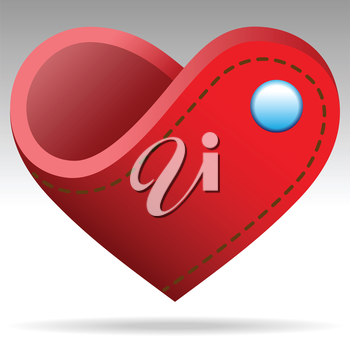 Royalty Free Clipart Image of a Heart With a Button