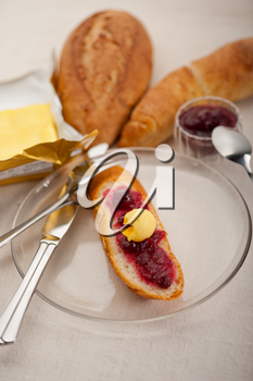 bread butter and jam classic European breakfast