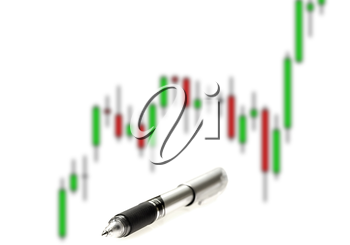japanese candlestick chart ,with pen on white background