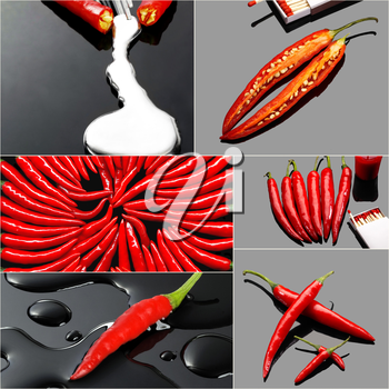 fresh red hot chili peppers collage composition on a square  frame