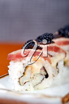 macro closeup of fresh sushi choice combination assortment selection
