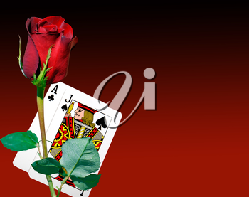 Royalty Free Photo of Playing Cards and a Rose