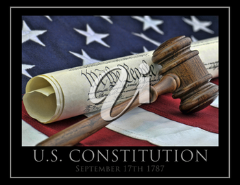 Royalty Free Photo of the United States Constitution and a Gavel