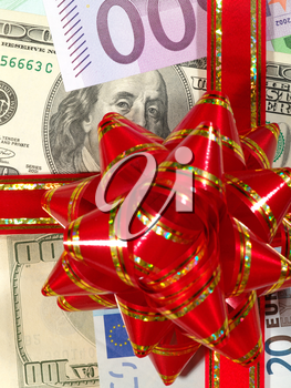 Royalty Free Photo of a Money Background With a Bow