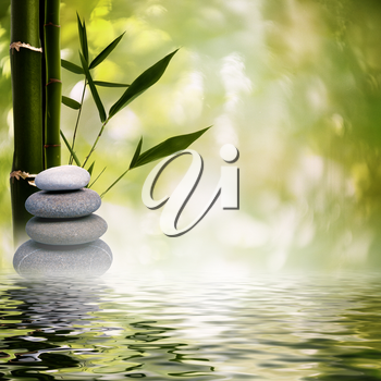 Royalty Free Photo of Rocks, Bamboo and Water