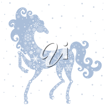 Royalty Free Clipart Image of a Snowflake Horse