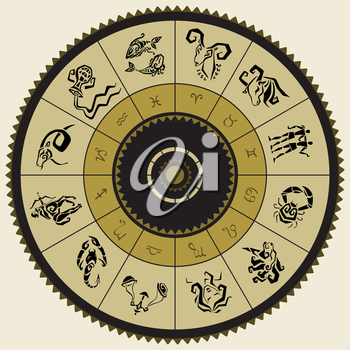 Royalty Free Clipart Image of a Horoscope Wheel