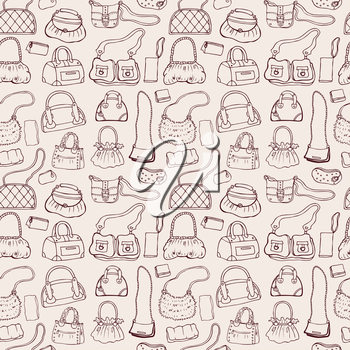Background of women handbags. Hand drawn vector pattern.