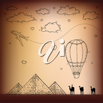 Egypt. Travel and tourism background. Vector hand drawn illustration.