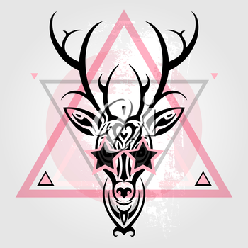Deer head Tribal pattern. Polynesian tattoo style. Vector illustration.