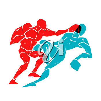 Silhouette of two professional boxer. Boxing match. vector illustration on white background