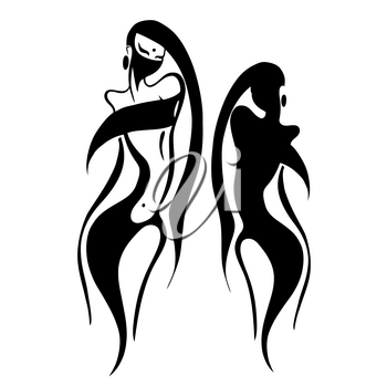 Beautiful woman in Hijab. Silhouette. Hand drawn vector illustration.